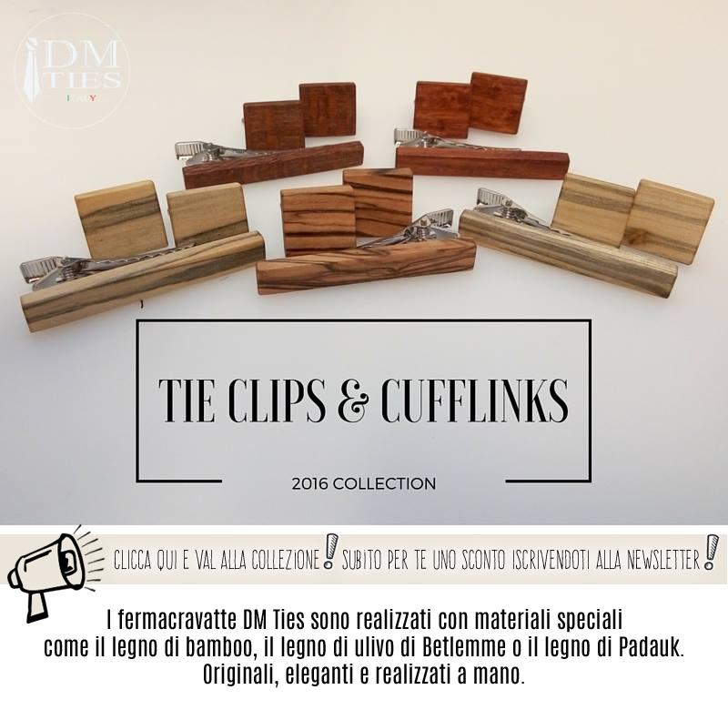 Fermacravatte in legno e metallo