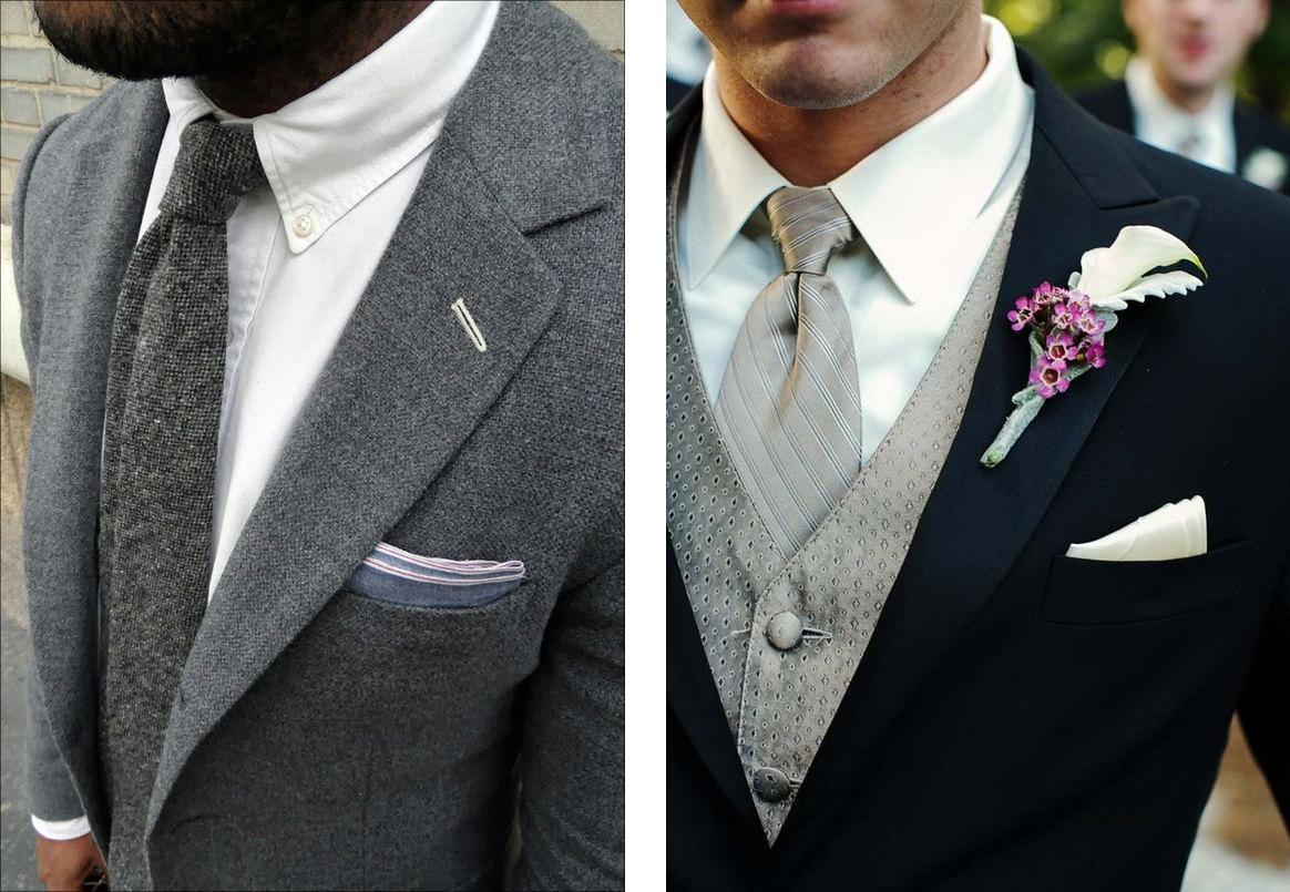 Cravatta grigia o argento su camicia bianca