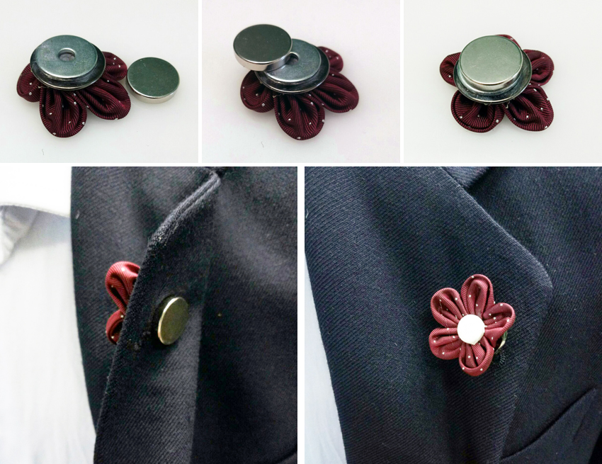 Amato Spilla da giacca a fiore: è sbocciata la seta - Cravatte italiane FD55