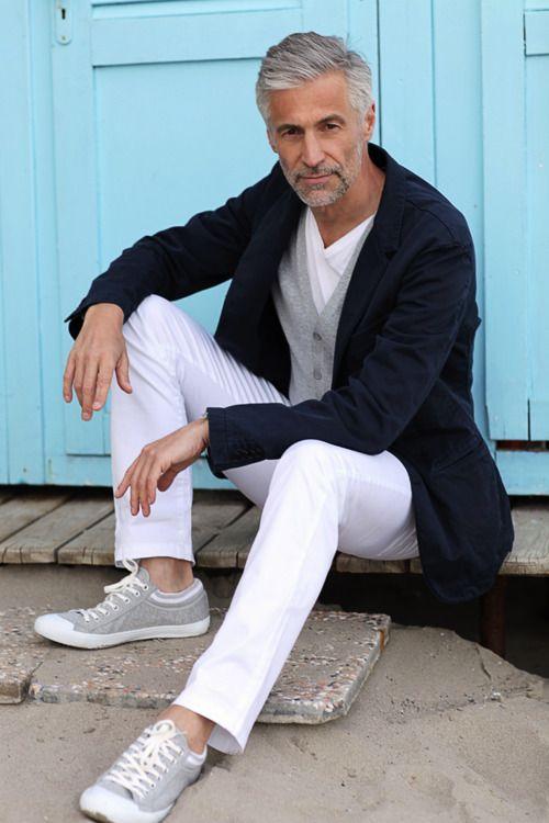 pantalone bianco blazer uomo blu
