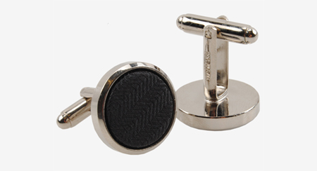 Gemelli da polso in seta nera chevron con cornice argento