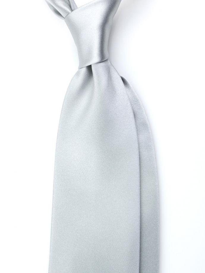 Cravatta in seta raso grigio perla