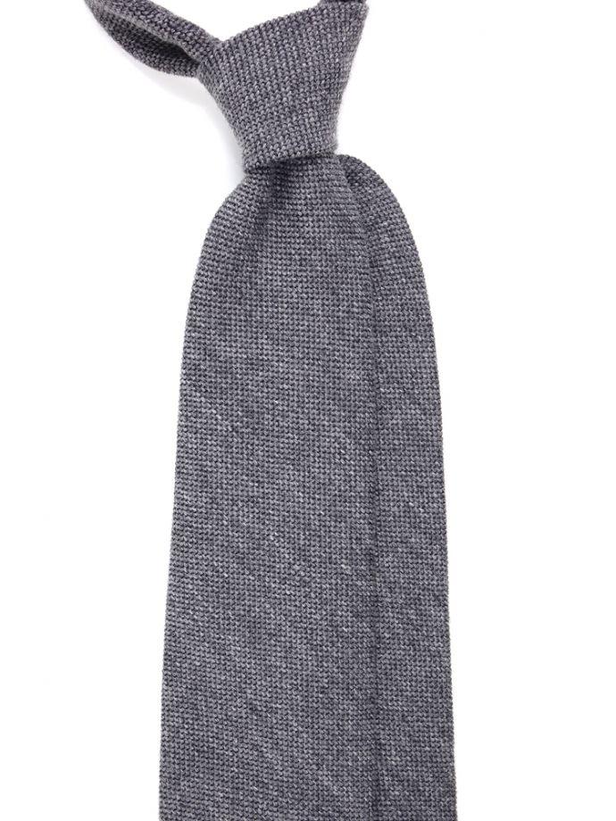 Cravatta tre pieghe pura lana grigio chiaro tinta unita