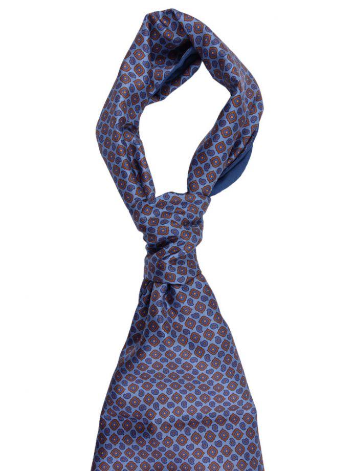 Sciarpa foulard in pura seta modal cachemire blu con microdisegni