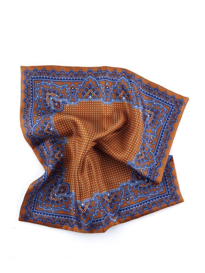 Pochette fazzoletto da taschino 100% seta doppiato marrone e blu a fantasia