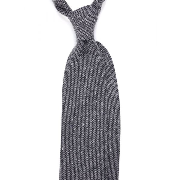 cravatta maglia di lana grigia