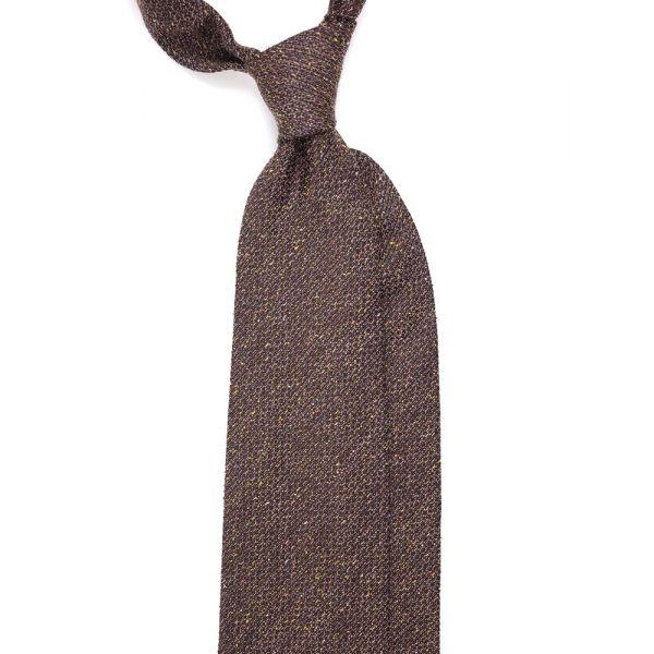 cravatta tre pieghe lana marrone