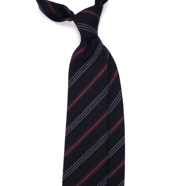 cravatta tre pieghe lana nero a righe