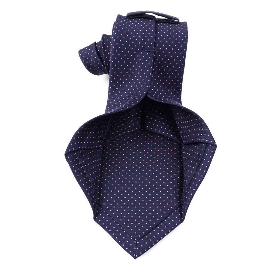 Cravatta sette pieghe sartoriale blu a pois piccoli bianchi