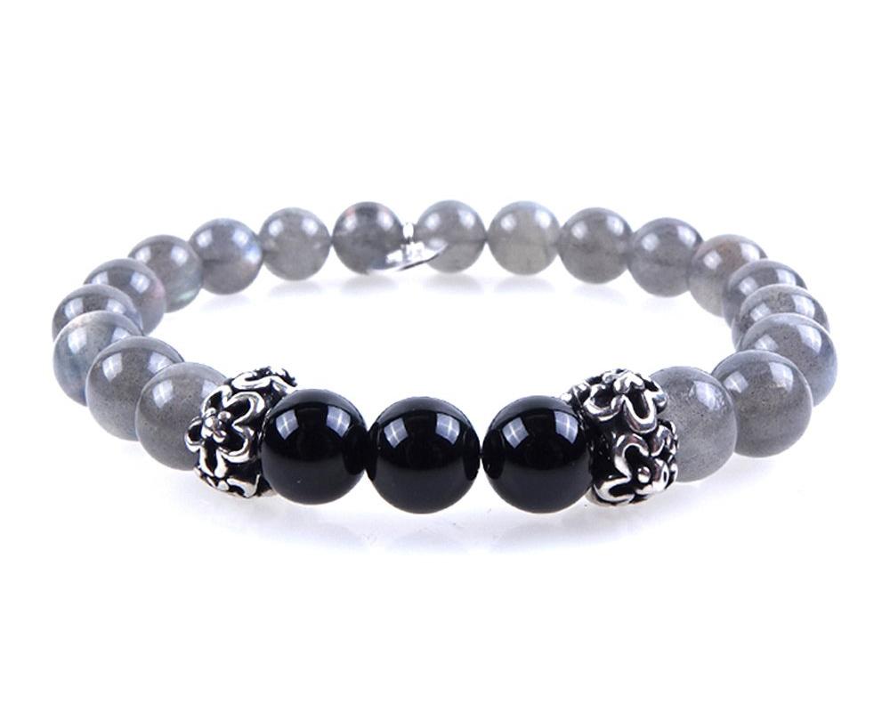 bracciale argento pietra grigio donna