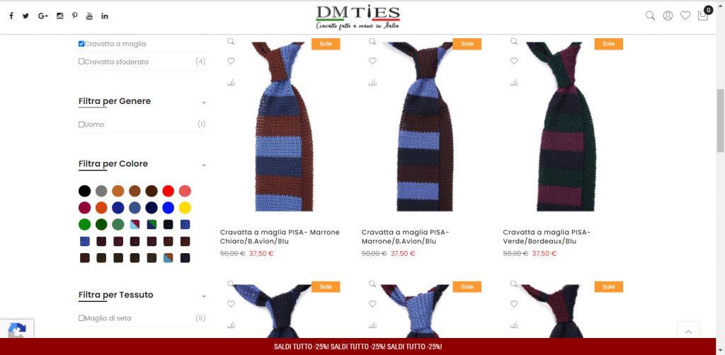 vendita online cravatte a maglia dm ties