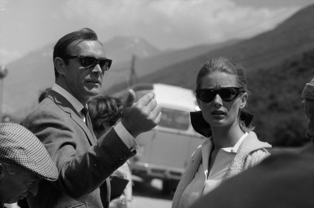 Sean Connery And Tania Mallet. On set, Goldfinger, 1964.