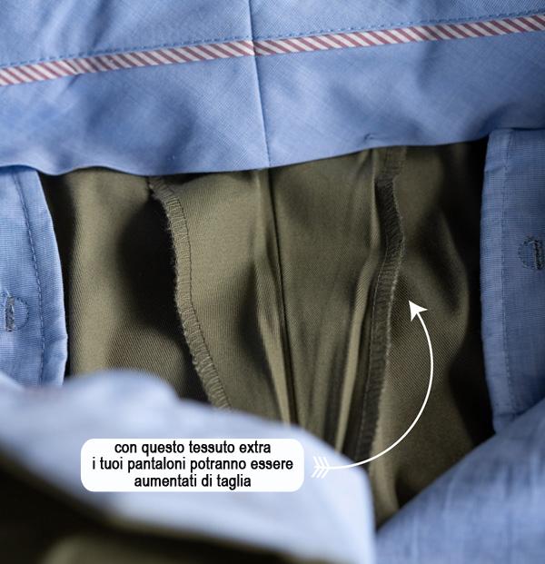 tessuto extra all'interno di un pantalone sartoriale, per poterlo allargare o stringere di taglia