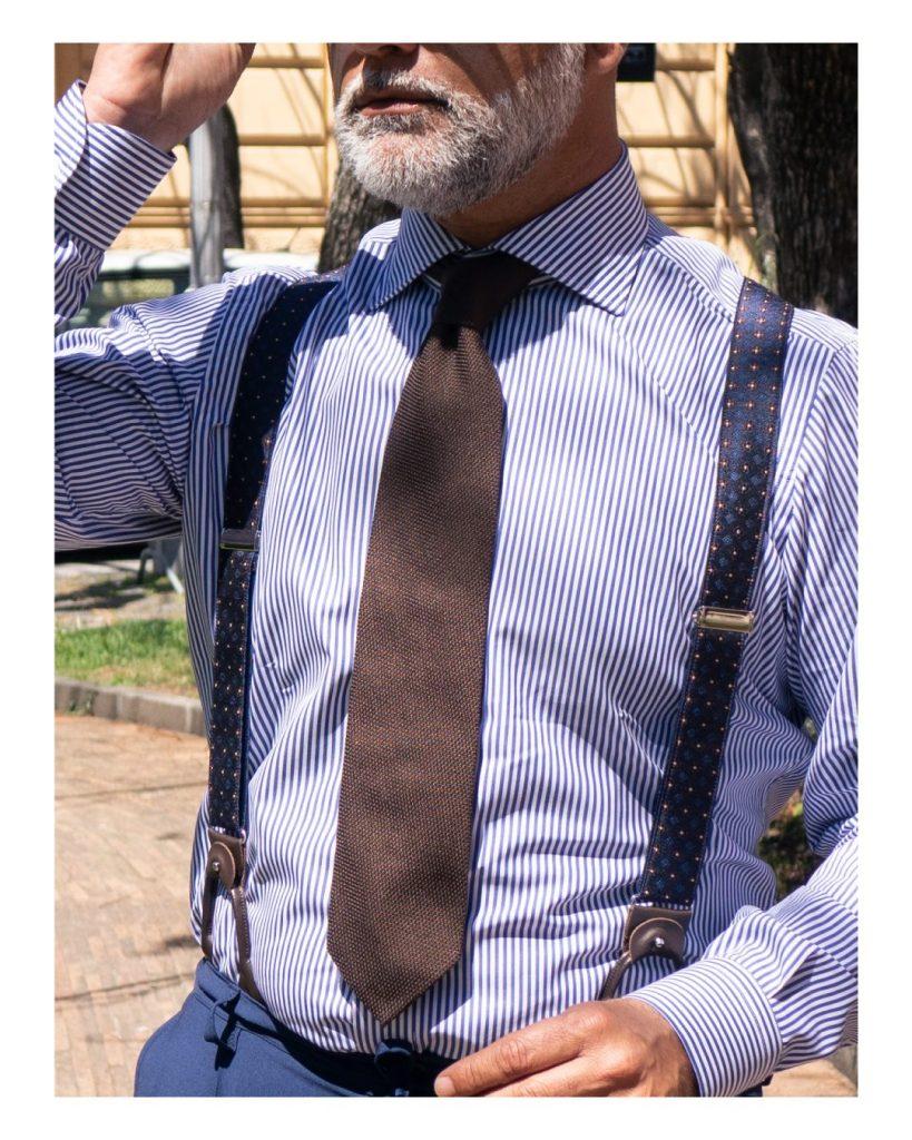Cravatta marrone in garza di seta DM Ties