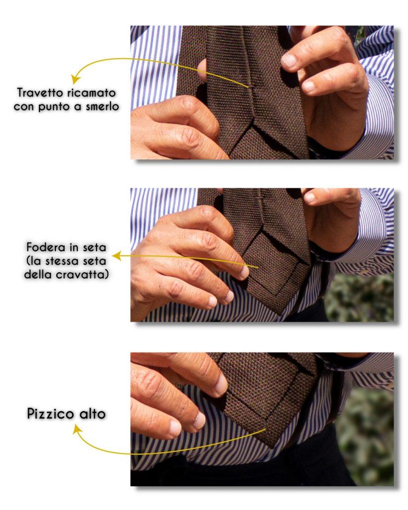 Dettaglio della cravatta in garza di seta RUBINO