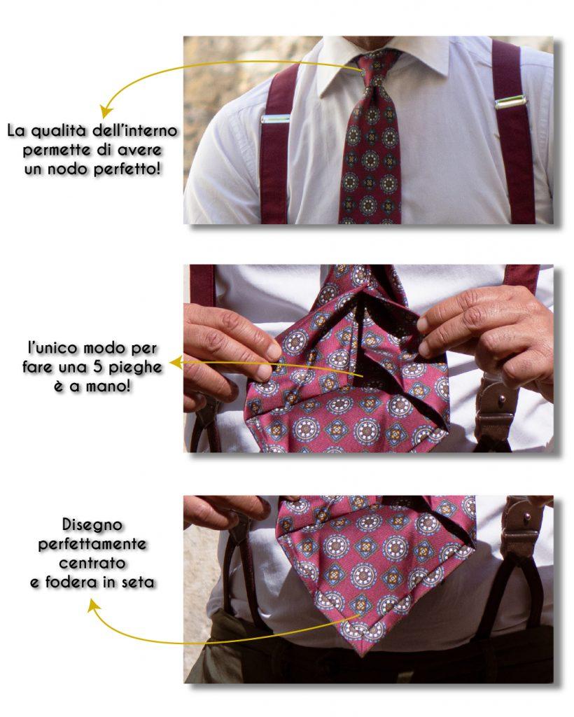 Dettagli tecnici di cravatta 5 pieghe sartoriale denominata Trento, fatta a mano alla DM Ties