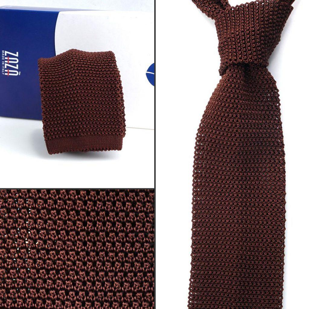 Cravatta a maglia marrone bruciato a punta quadrata DM Ties