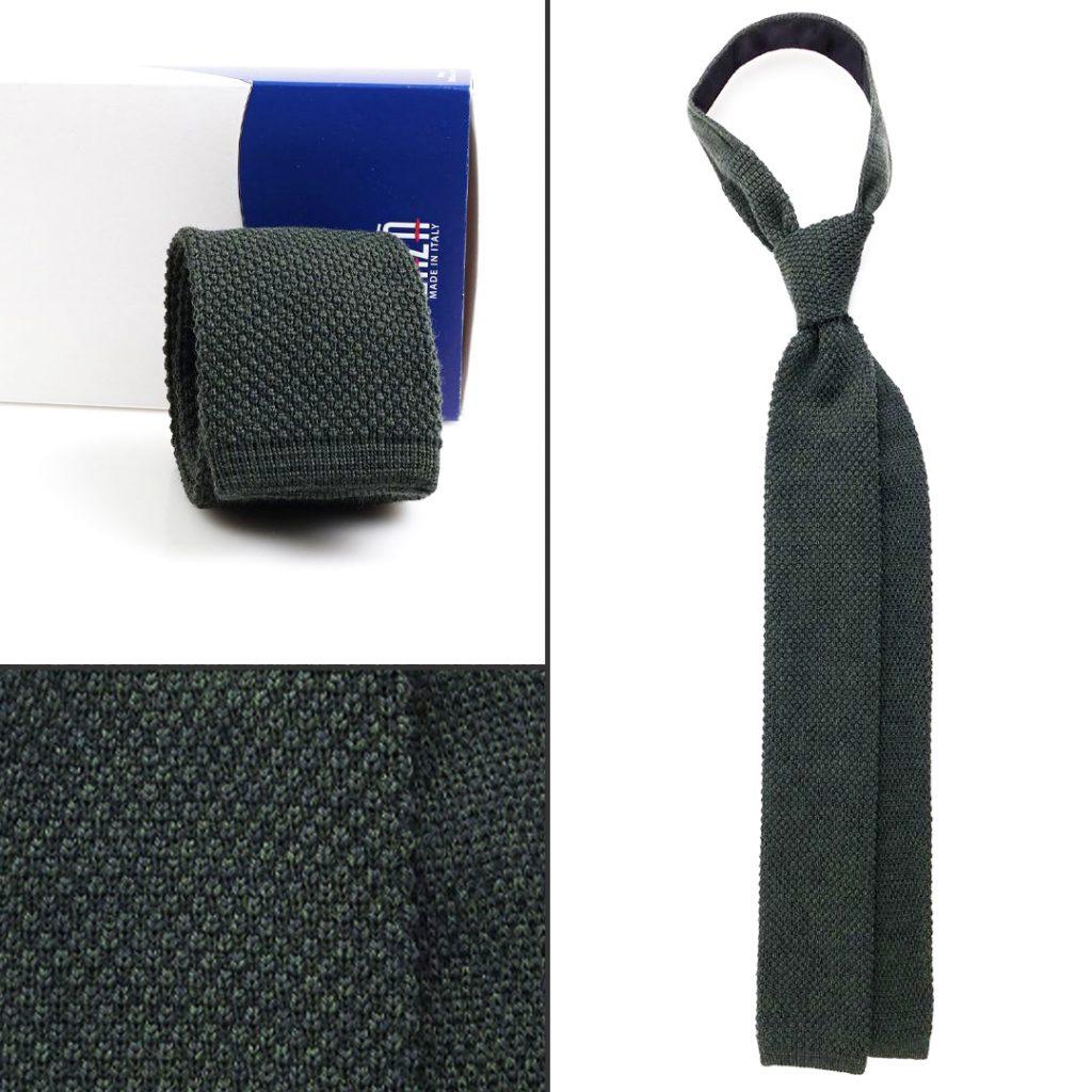 Cravatta a maglia verdone bosco a punta quadrata DM Ties